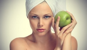 Green apple for face